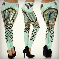 Aztec Tribal Mint Green Metallic Gold Foil Fashion Pants Aqua Leggings S M L