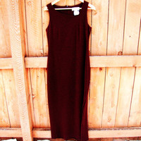 vintage Casual Corner burgandy evening gown. sparkly long dress. New Years Eve dress. size M. oxblood