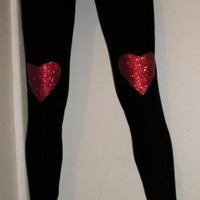 Red Glitter Heart Leggings