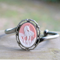Unicorn Bracelet - Antique Silver - Pink and White - Gifts Under 25 - Woodland