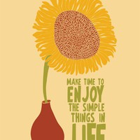 Sunflower Illustration Print Art, Sunflower Poster, Inspirational Quote Art Illustration, Modern Art Print, Sunflower Illustration Quote Art