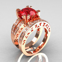 Modern Vintage 14K Rose Gold 3.0 Carat Ruby Diamond Solitaire Ring and Wedding Band Bridal Set R102S-14KRGDR