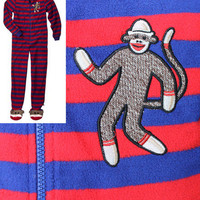 ADULT FOOTED Fleece Pajamas SOCK MONKEY Footsie Footie Feet Blanket Sleeper