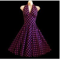 50s Pin Up Fashion - Vintage Style Swing Dress - Black/Dots