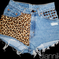Cheetah. ANY SIZE Vintage High Waisted Denim Shorts