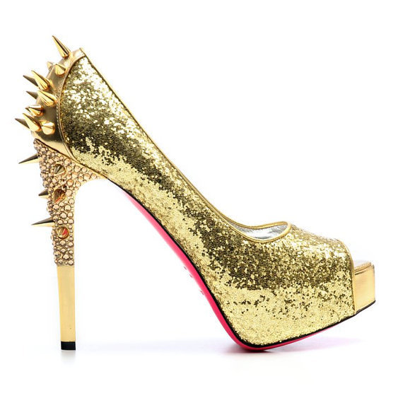 Gold Pumps with Spikes and Partial Crystals by NikolinaMarie