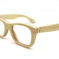 handmade bamboo natural yellow eyeglasses glasses frames 1055 c01