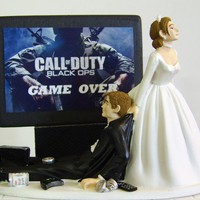 VIDEO GAME &#x27;junkie&#x27; Groom Customized Wedding Cake Topper.  The ORIGINAL Video Game cake topper....not a copy cat.