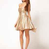 TFNC Sequin Dress Structured Bandeau Full Layered Prom Skirt at asos.com