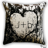 Personalized Carved Initials in Tree Bark Cotton by Linthound