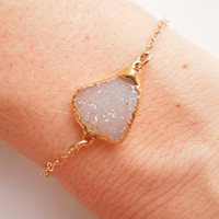 Vanilla Druzy Bracelet, White and Gold