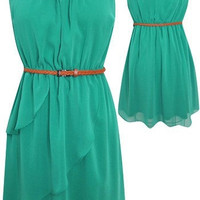 Cutout Back &#x27;Sadie&#x27; Dress w/ Belt (Green)