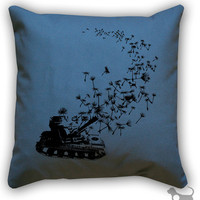 Dandelion Army Tank Cotton Canvas/Twill 14 x 14 Throw by Linthound