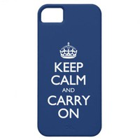 Keep Calm And Carry On - Cobalt Blue White Text iPhone 5 Cover