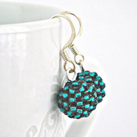 Beaded beads earrings Tiny size Teal by TyssHandmadeJewelry