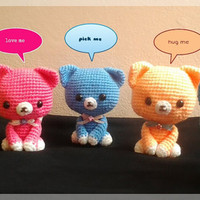 Free shipping, Amigurumi kitten, set of 5 dolls, made-to-order.