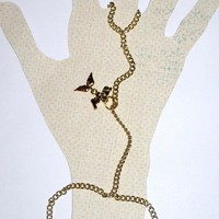 Gold Chain Slave Bracelet with Angel Wings Charm and Angel Word Charm