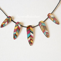 Feathers necklace -  Indian feathers jewelry - Illustrated jewelry - statement Gift for her