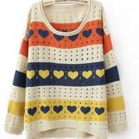 Colorful Stripes and Heart Print Curved Hem Long Sleeve Sweater - Sheinside.com