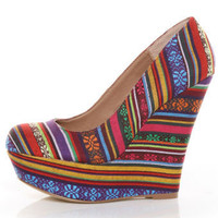Steve Madden Pammyy Bright Multi Stripe Fabric Platform Wedges - $99.00
