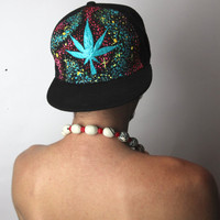 Hand Painted Black / Blue 420 LEAF SPACE SNAPBACK - Bad Guy Threads