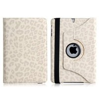 Wisedeal Quality New Leopard Pattern PU & Plastic Leather 360° Rotatable Rotating Smart Stand Protective Folio Cover Flip Case for Apple iPad Mini White