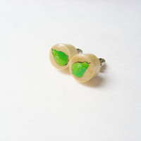 Green Pear Earrings Studs  - Hand Painted Fruit Jewelry - Wooden Earring - Wearable Art