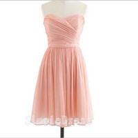 Custom A-line Sweetheart Sleeveless Knee-length Chiffon Cheap Prom/Evening/Party/Homecoming/Brideamaid/Cocktail Dresses 2013 With Pleated