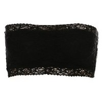 Amazon.com: Black Floral Lace Bandeau Bra: Clothing