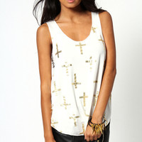 Polly Foil Cross Print Vest