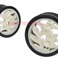 Intricate Carved Horn & Bone Flower Hollow Double Flared Plugs - Monster Steel