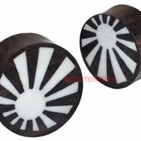 Rising Sun  Sono Wood and Bone Double Flared Ear Plugs - Monster Steel