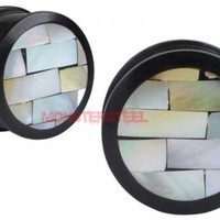 Buffalo Horn and Mother of Pearl Mosaic Double Flared PLugs - Monster Steel