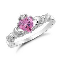 Amazon.com: Sterling Silver Pink Heart CZ Claddagh Ring Sizes 4 to 9, 4: Jewelry