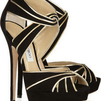Jimmy Choo|Koko metallic leather and suede sandals|NET-A-PORTER.COM