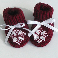 Hand Knitted Baby Booties Christmas Snowflake by BabywearbyBabs