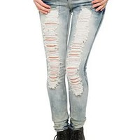 Destroyed Cloud Skinny Jeans - 730058