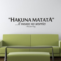 Art Wall Decals Wall Stickers Vinyl Decal Quote - Hakuna Matata - It means no worries - The Lion King -