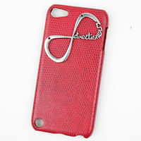 "Red Hard Case Cover With One Direction ""Directioner"" Infinity for Apple Ipod Touch 5, iPod Touch 5th,iTouch 5,iPod Touch 5"