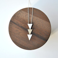 Triangles Necklace Bronze and Sterling Silver - Geometric Tribal Necklace