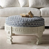 Custom Upholstered Chakki Ottoman in Designer Fabrics | Serena &amp; Lily