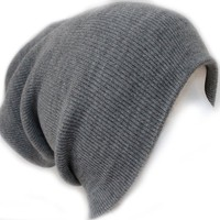 Ribbed Beanie Hat Slouch Style Skull Cap Ski Hat Light Grey