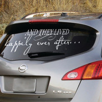 Happily ever after removable car decal newly weds