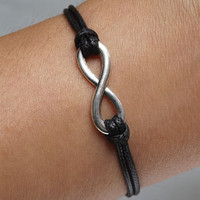 Unisex simple fashion silver Infinite hope 8 pendant leather braided bracelet--silver 8 black wax rope adjustable braided bracelet