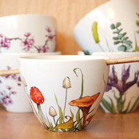 Custom Painted with Any Botanical Design - White Ceramic Noodle Bowl