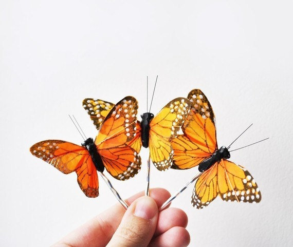 butterfly hair pin monarch 'one wish' by whichgoose on Etsy