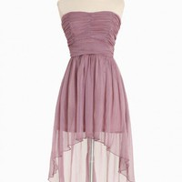 regal nights asymmetrical chiffon dress in dusty purple at ShopRuche.com, Vintage Inspired Clothing, Affordable Clothes, Eco friendly Fashion