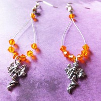 Mystical Fairy Dangle Orange Crystal Earrings