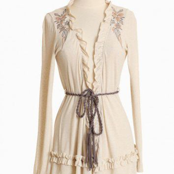 frill seeker belted cardigan at ShopRuche.com, Vintage Inspired Clothing, Affordable Clothes, Eco friendly Fashion