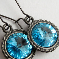 "Handmade Aquamarine/Turquoise Swarovski Crystal Earrings, December/March Birthstone, on Black Nickel Gunmetal Settings - ""Blue Goddess"""